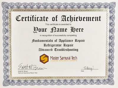 appliance repair certification from Master Samurai Tech